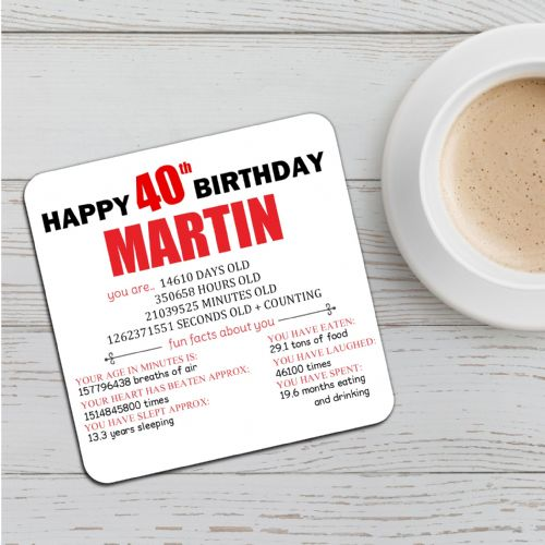 Personalised Happy 40th Birthday Drinks Coaster N50 Any Name